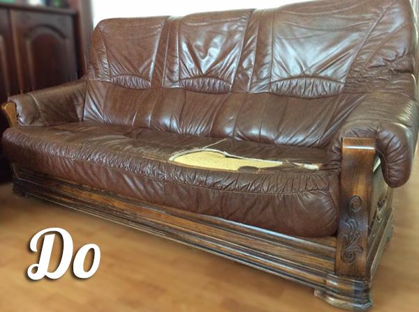 Пример обивки дивана - до