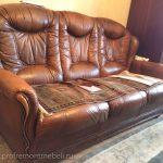 Пример ремонта кресла и дивана из кожи